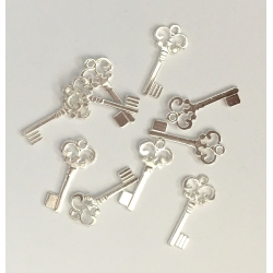 Metal Charms - Keys, Silver (14)