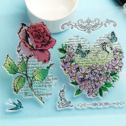 Clear Stamp set - Vintage Rose (6pcs)