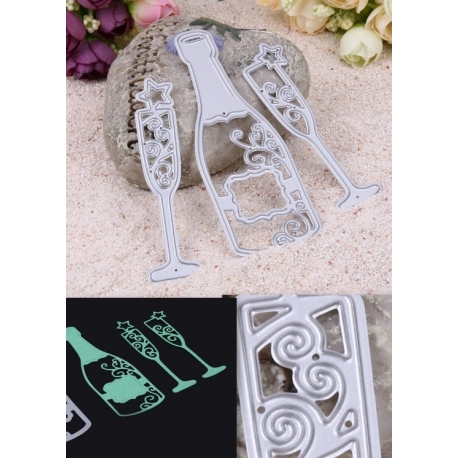 Printable Heaven dies - Champagne Bottle & Glasses (3pcs)
