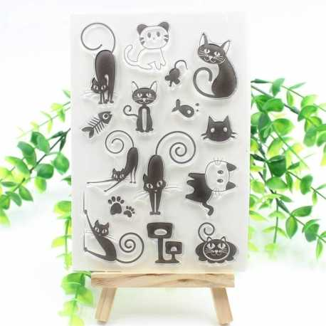 Clear Stamp set - Cute Cats (15pcs)
