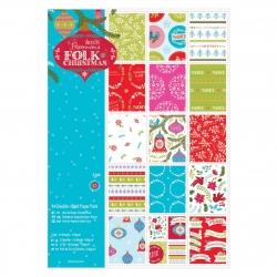 PMA 160932 A4 Double sided Paper Pack Linen (32pk) - Folk Christmas