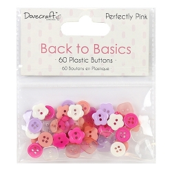 Dovecraft Back to Basics Perfectly Pink Plastic Buttons (DCBTN020)
