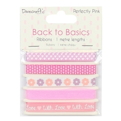 Dovecraft Back to Basics Perfectly Pink Ribbon Pack (DCRBN027)