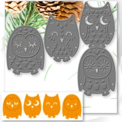 Printable Heaven dies - Groovy Owls set (4pcs)