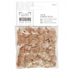Satin Ribbon Roses (100pcs) - Wedding, Antique Gold (PMA 158581)