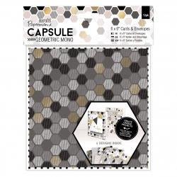 "6 x 6"" Cards & Envelopes (12pk) - Geometric Mono (PMA 151142)"