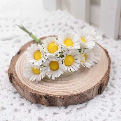 Mini Fabric Daisy Bunch - White (10 flowers)