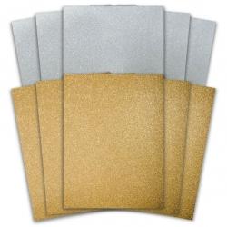 10 Sheet A6 Glitter Paper Pack - Gold & Silver