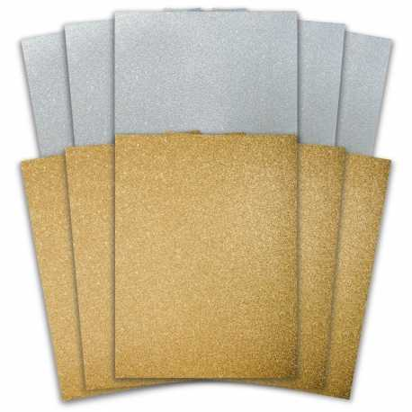 10 Sheet A6 Glitter Paper Pack - Gold & Silver
