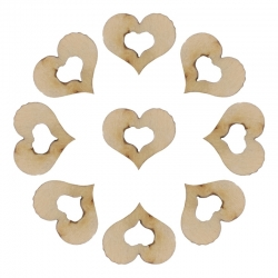 Wooden Hollow Hearts (100pcs)