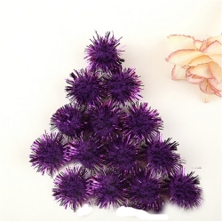 Glitter Pom-poms 10mm - Purple (100pcs)