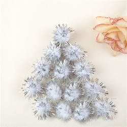 Tinsel Pom-poms 10mm - White (100pcs)
