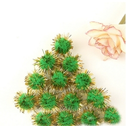 Tinsel Pom-poms 10mm - Green (100pcs)