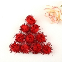 Tinsel Pom-poms 10mm - Red (100pcs)