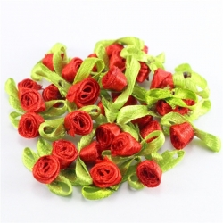Ribbon Roses - Red (50pcs)