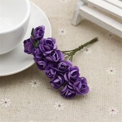Paper Roses - Purple (Bunch of 12)