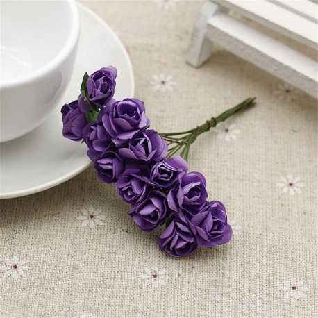 Paper Roses - Dark Purple (Bunch of 12)