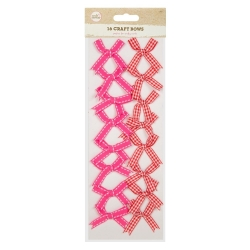 Fabric Craft Bows (16 Pack) - Red Gingham/Cerise (U-80971)
