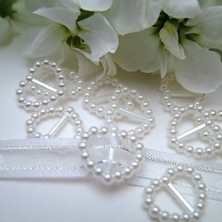 Heart-shaped Pearl Ribbon Sliders - White (48pcs)