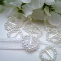 Heart-shaped Pearl Ribbon Sliders - White (48pcs)