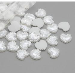 1cm Flatback Pearl Hearts - White (48pcs)