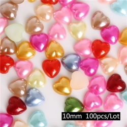 Flatback Hearts Multi, 10mm (100pcs)