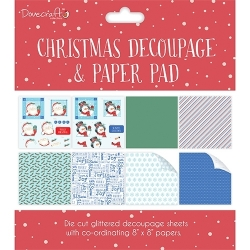 Dovecraft Christmas Decoupage Pad – Red (DCDPG006X17)