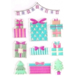 Clear stamp set - Christmas Presents & Trees (10pcs)