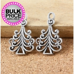 Metal Charms - Swirl Christmas Trees (8)