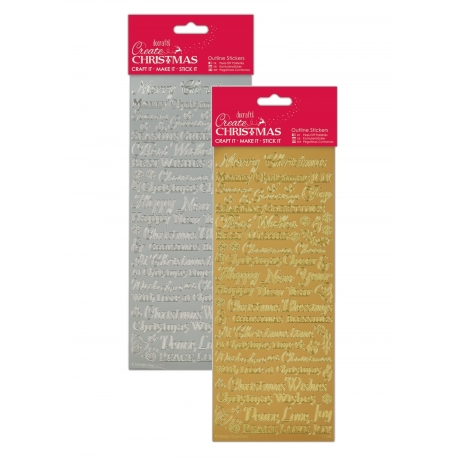 Anita's Peel-offs - Traditional Xmas Sentiments Gold & Silver
