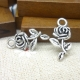 Metal Charms - Rose with stem (10)
