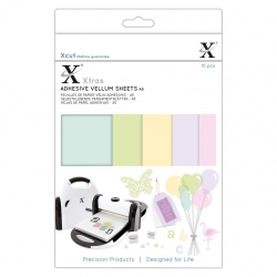 XCU 174424 Xcut Xtras' A5 Adheive Vellum Sheets (15pcs) - Coloured