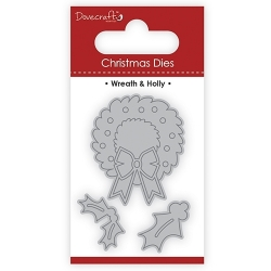 Dovecraft Christmas Dies – Wreath & Holly (DCDIE108X17)