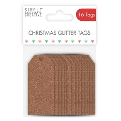 SCTOP007X17 Simply Creative Christmas Basics Tags - Rose Gold Glitter