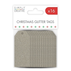 SCTOP008X17 Simply Creative Christmas Basics Tags - Silver Glitter