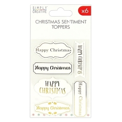 SCTOP013X17 Simply Creative Christmas Basics Toppers Happy Christmas White