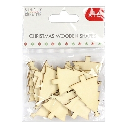 SCWDN007X17 Simply Creative Christmas Basics Wooden Shape – Trees