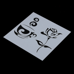 Reusable Stencil - Coffee & Rose (1pc)