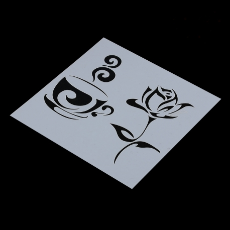 Reusable Stencil - Coffee & Rose (1pc)