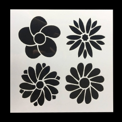 13 x 13cm Reusable Stencil - 4 Flowers (1pc)