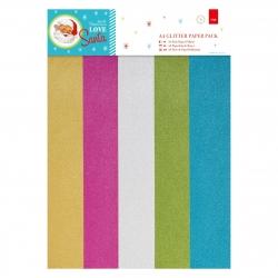 PMA 160957 A4 Glitter Paper Pack (15pk) - Love Santa