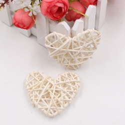 Rattan Hearts, Natural/White (5pcs)