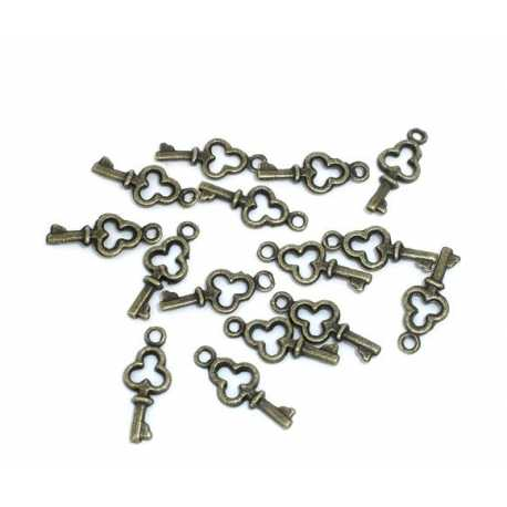 Metal Charms - Mini Key brass (24)