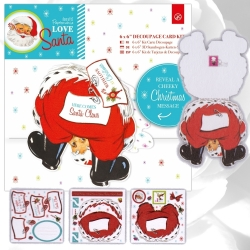 "PMA 160956 6 x 6"" Decoupage Card Kit - Love Santa"