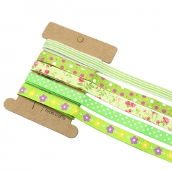 Ribbon Assortment - Grosgrain Greens (5pcs)