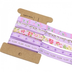 Ribbon Assortment - Grosgrain Lilacs (5pcs)