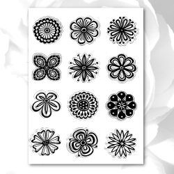 Clear stamp set - Flower-heads (12pcs)