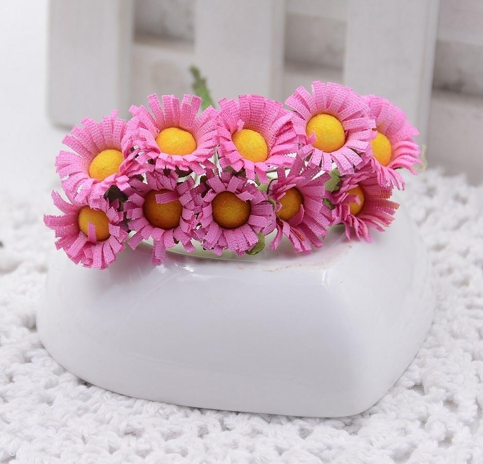 Mini Fabric Daisy Bunch Fuchsia 10 Flowers Lovely Fabric