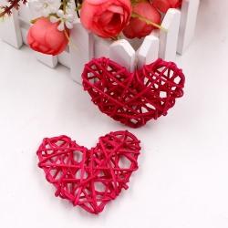 Rattan Hearts, Fuchsia (5pcs)