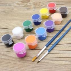 12 Acrylic Paints Set with Brushes